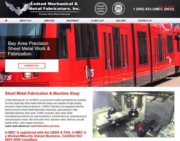 Homepage For UMEC Machine Shop Website