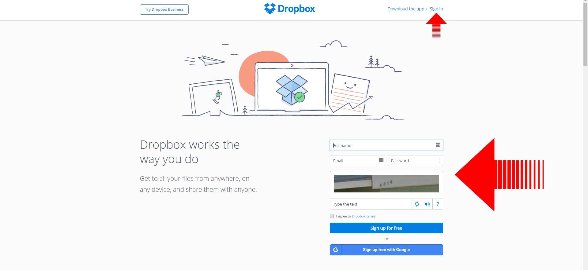 sending files dropbox