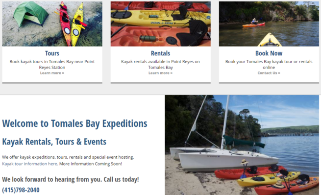 Tomales Bay Expeditions KO Websites