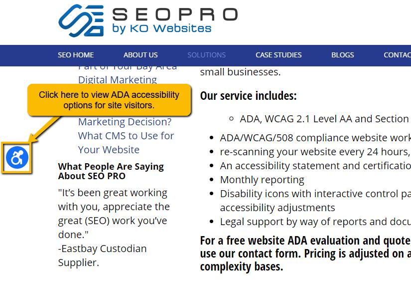 ADA lawsuit Widget Icon Accessibility Tool SEOPro